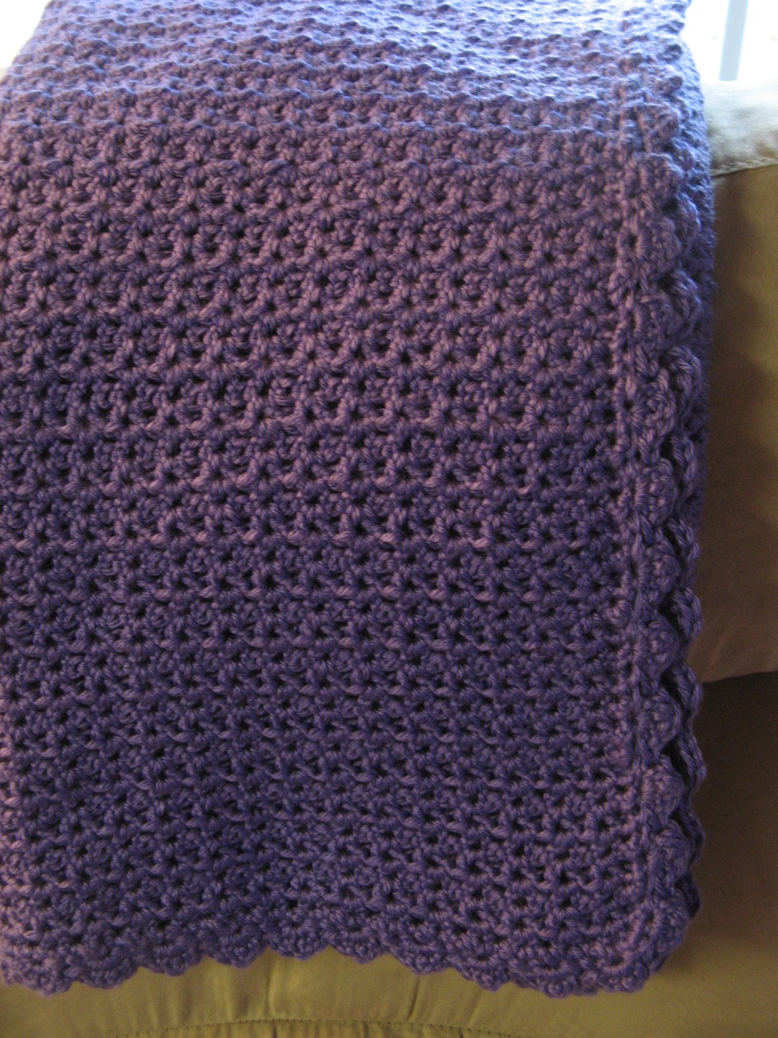 Violet V Stitch Baby Blanket Bead Yarn Spatula