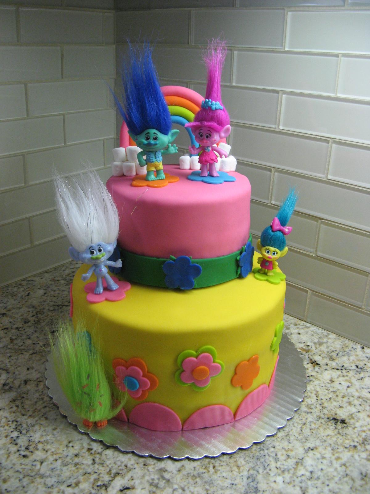 Trolls Birthday Cake Chocolate Frosting